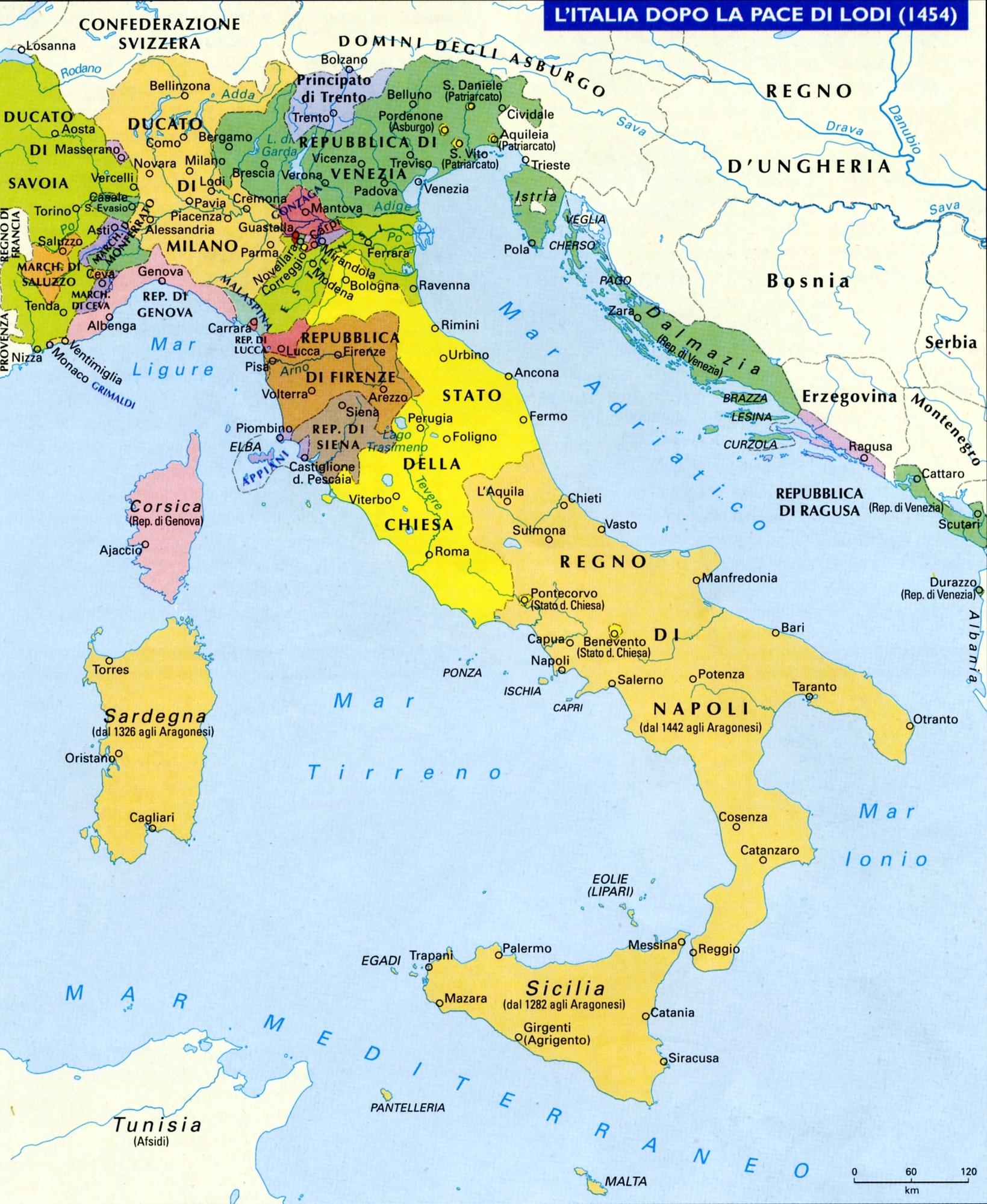 Cartina Dellitalia Nel 400.I Principali Stati Italiani Tra Medioevo E Rinascimento Platone 2 0 Storia Tardo Antica E Medioevale